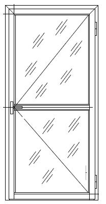 Дверь из оконного профиля 1-но створчатая с импостом и порогом