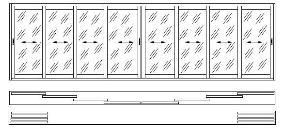 8-ми створчатая раздвижная алюминиевая конструкция на 2-х направляющих