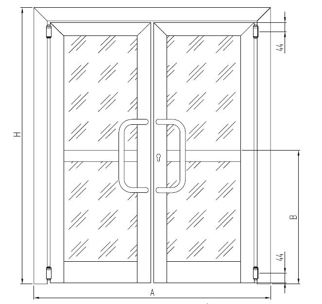 Двухстворчатые «межкомнатные» двери с независимым открыванием створок (маятниковые двери с петлями FRIDAVO)