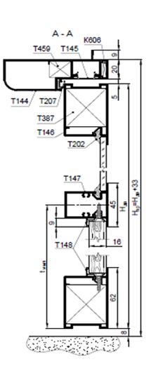 Дверной блок системы Status с полотном 62мм