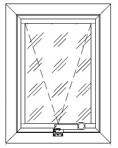 Окно с откидной, верхнеподвесной створкой с открыванием наружу