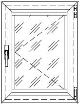 Окно с распашной поворотной створкой с открыванием наружу
