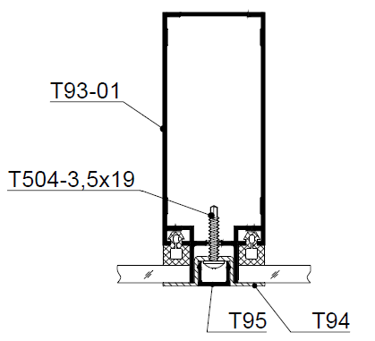 Перегородка с 1-но сторонним светопрозрачным заполнением