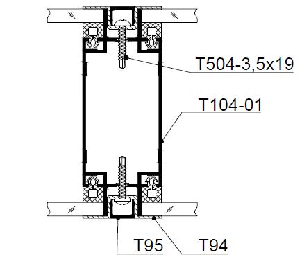 ерегородка с 2-х сторонним светопрозрачным заполнением