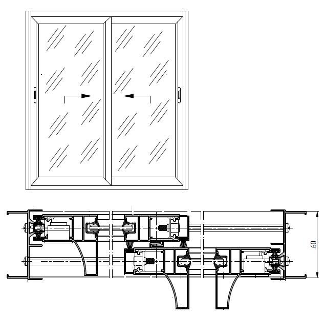 2-х створчатая раздвижная алюминиевая конструкция на 2-х направляющих (СЛАЙД-60) RAL9016/9016 Стекло М1 5.0 мм С применением усиленных стоек и ригелей створки (серии VC65)